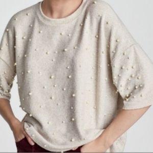 Zara Trafaluc Soft Faux Pearl Oversized Sweater M